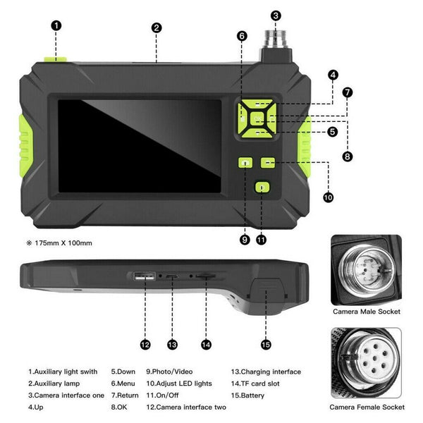 18129 Merge 1080P HD Industrial Pipe Endoscope With 4.3inch Screen Display Hooh Side Mirror Arrow Celebration.