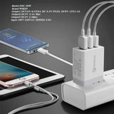 18171 Merge 30W Qualcomm 3 Port QC 3.0 Fast Charging USB Wall Charger Adapter iPhone Samsung Built Secure