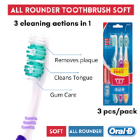 18191 Merge Health 3 Piece soft Oral B All Rounder Tooth Brushes 123 Clean Dental Health