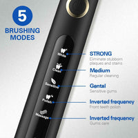 18197 Merge Health Fairywill Electric Tooth Brush Black Handle 4 Brushes USB REchargeable Auto-Off