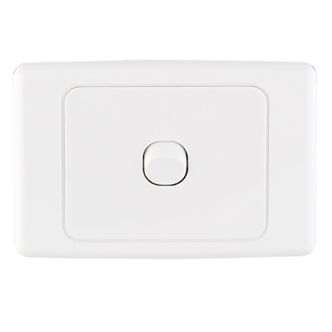 23104 Gunn 10A Single Light Switch Classico Slim White.