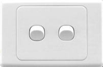 23105 Gunn 2 Gang Light Switch ((Box Of 10)) Classico Slim White.