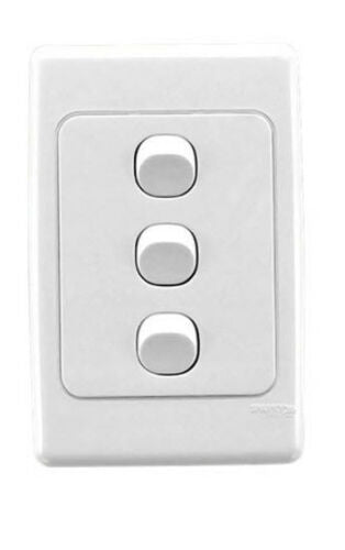 23106 Gunn 10A 3 Gang Light Switch Classico Slim White.