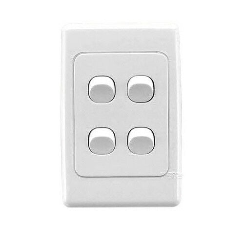 23107 Gunn 4 Gang Light Switch Classico Slim White.