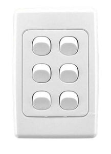 23109 Gunn 6 Gang Light Switch ((Box Of 10)) Classico Slim White.