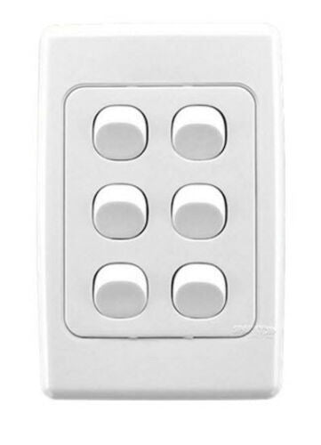 23109 Gunn 6 Gang Light Switch Classico Slim Celebration White.