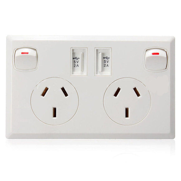 25126 Gunn 10A Double Power Point With Dual USB Sockets Classico Slim Celebration White.