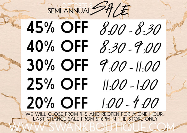 Swank Semi Annual Sale - October 8, 2016