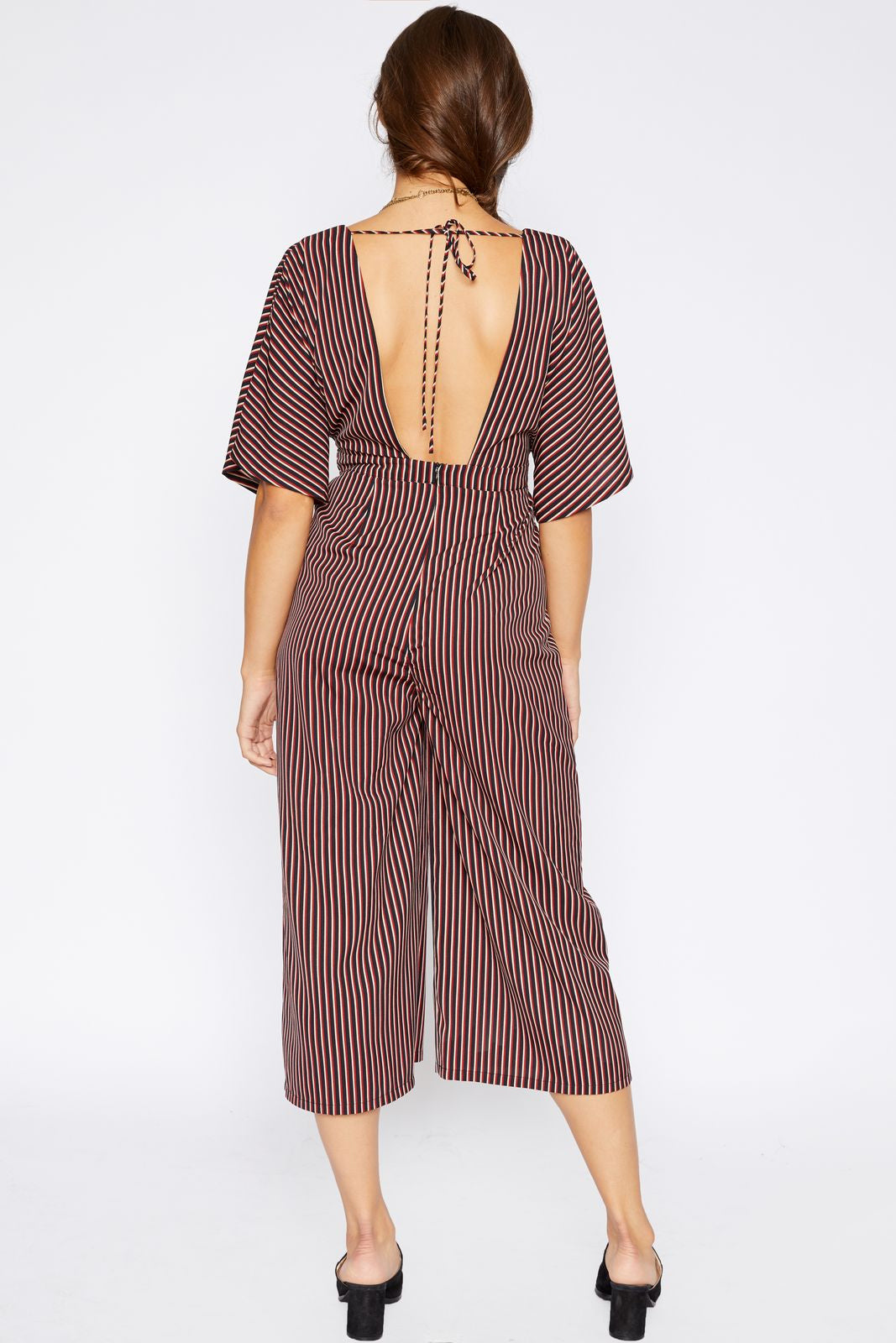 Striped Deep V Jumpsuit