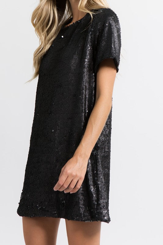 Sparkling Sequin T-Shirt Dress