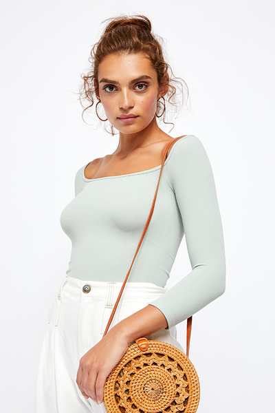Square Neck 3/4 Sleeve Top