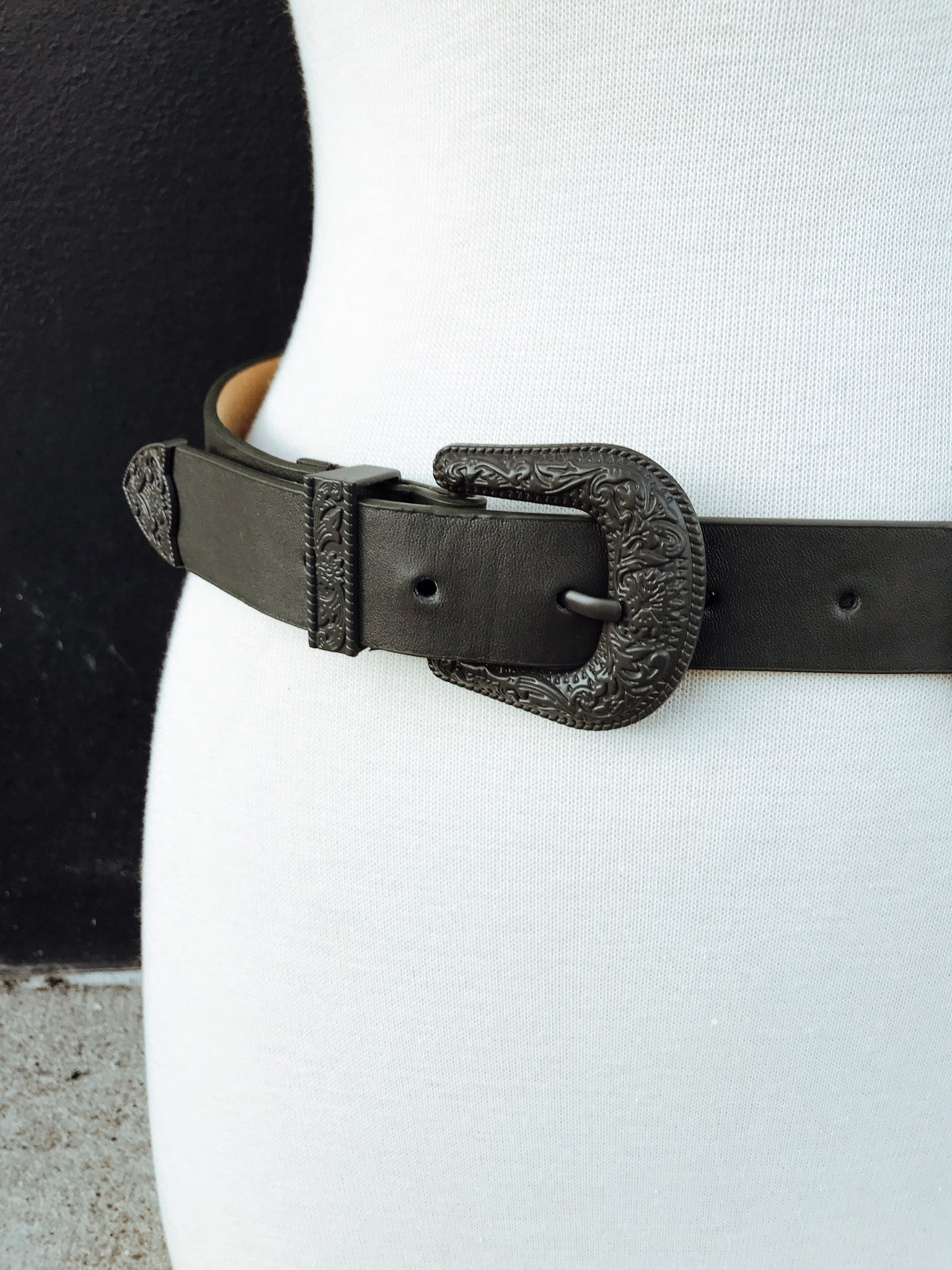 Enameled Double Buckle Western Belt