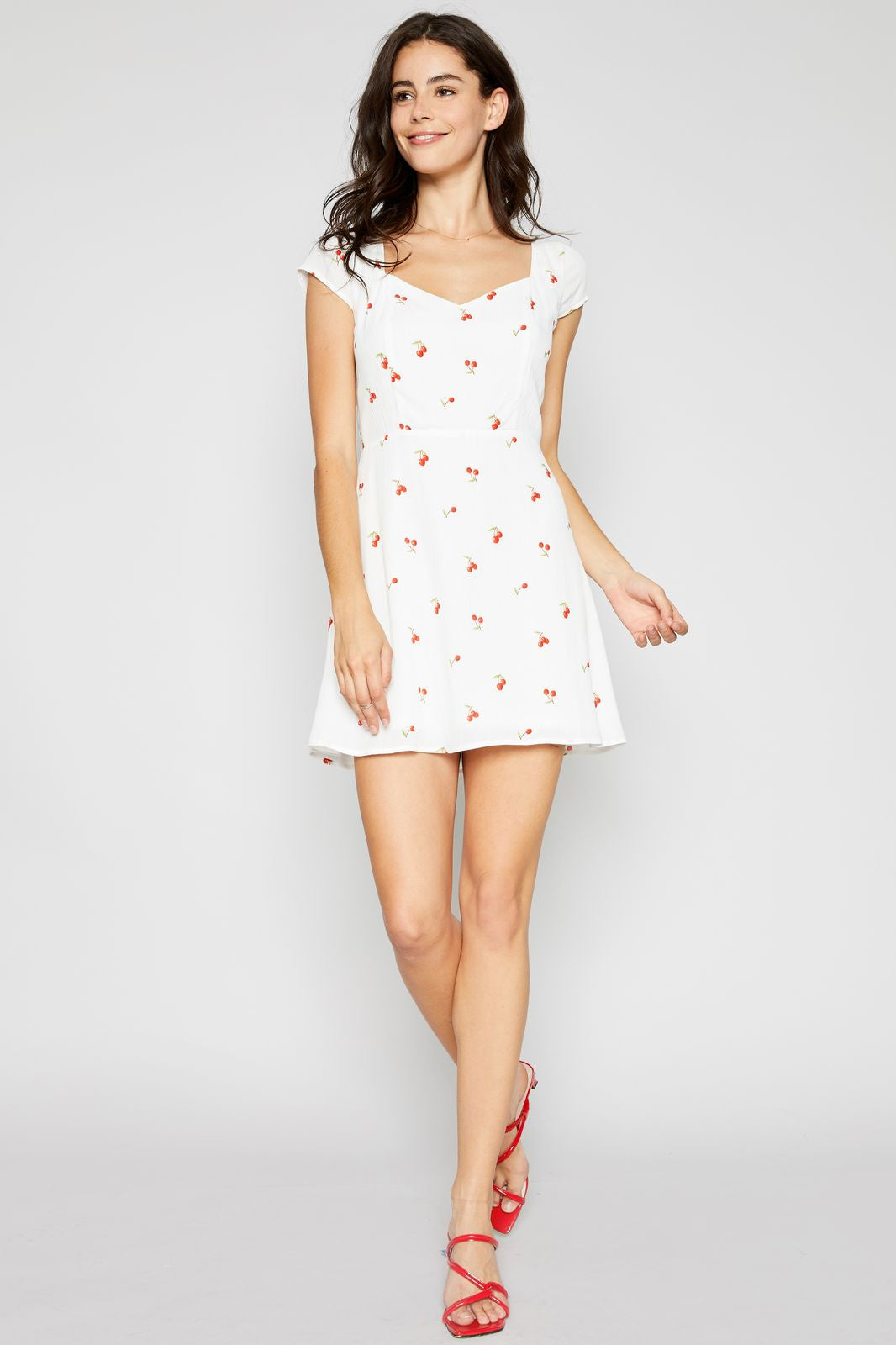 Cherry Fitted S/S Dress