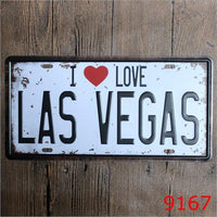15x30cm I Love Las Vegas Decor Bar Pub License Plate Vintage Retro Poster Cafe Art Decor Metal Tin Sign