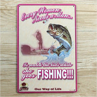 20x30 cm Women Fishing Slogan Tin Sign