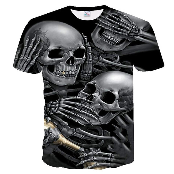 3d skull Mens Casual 3D Printed T shirt