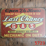 20X30cm Last Chance Cheap Gas Open 24 Hours Retro Metal Tin Sign Garage Home Pub Bar Wall Decor