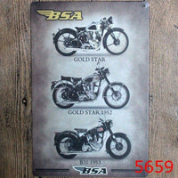 "8""""x12"" Metal Tin Sign BSA Motorcycle Bar Pub Home Vintage Retro Poster Cafe Art Decor"