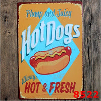 8x12 Inch Vintage Retro Wall Decor Tin Signs,Hotdogs Decorative Metal Sign for Home,Pub,Cafe and Hotel