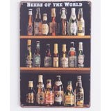 Beer of The World Metal Tin Signs House Pub Bar Vintage Art Wall Decor,20x30CM