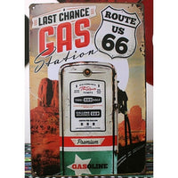 "Classic Route 66 ""Last Chance Gas Station"" Metal Tin Sign Wall Decor Display 20x30CM"