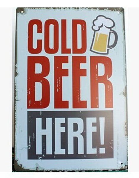 Cold Beer here Tin sign Art wall decoration House Cafe Bar Vintage Metal Poster Craft ,30x20cm