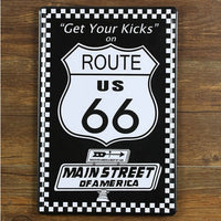 Get Your Kicks on Route Us 66 Main Stree of America Tin Metal Bar Sign Garage Decor 20x30CM