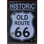 Historic Old Route 66 Weathered Tin Sign Garage Bar Bullet Holes Wall Decor 20x30CM