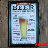 """How To Order A Beer Around The World"" Metal Tin Sign Vintage Home Bar Decor 20x30CM"