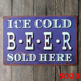 """Ice Cold Beer Sold Here"" Classic Tin Sign Metal Wall Decor Bar Pub Club Tavern 20x30CM"