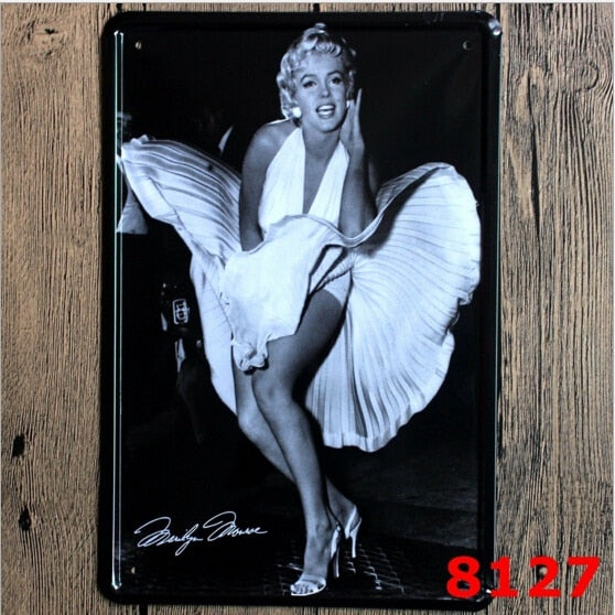 Metal Tin Sign Art Marilyn Monroe Vintage Retro Hollywood Movies Film Pop 20x30CM