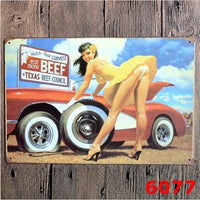 Metal Tin Sign Art Texas Beef Council Sexy Women Restaurant Roadhouse Bar 20x30CM