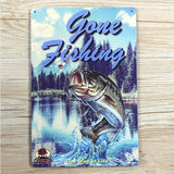 Metal Tin Sign Gone Fishing Decor Bar Pub Home Vintage Retro Poster Cafe Art 20x30CM