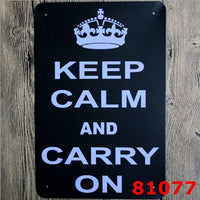 "Metal Tin Sign ""Keep Calm and Carry on"" Pub Home Vintage Retro Poster Cafe Art 20x30CM"