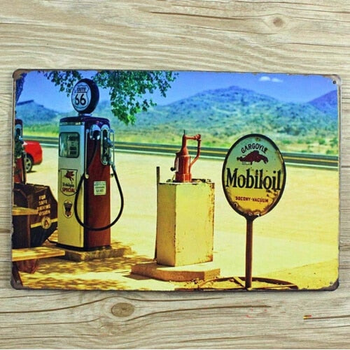 Mobiloil Route 66 Vintage Tin Sign Bar Pub Home Wall Decor Retro Metal Poster 20x30CM