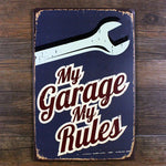 My Garage My Rules Vintage Tin Sign, Gas Oil, Rat Rod, Street Rod, Man Cave 20x30cm