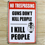 No Trespassing Tin Sign Wall Art Home Cafe Vintage Iron/Metal Paintings 20x30CM