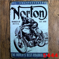 Norton Motorcycle Vintage Metal Tin Sign Poster Home Bar Wall Decor 20x30CM