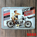Pin-up Sexy Girl Best Garage Wash Motorcycles Retro Metal Tin Sign Wall Decor,20x30CM