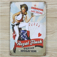 Pin-up Sexy Lady Welcome To Las Vegas Vintage Tin Sign Poster Wall Decor 20x30CM