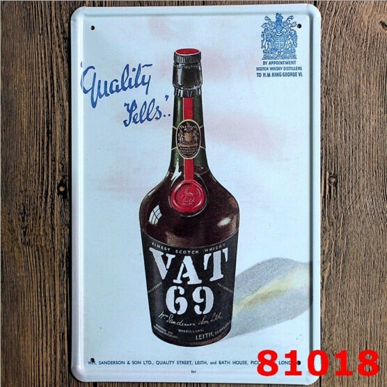 VAT 69 Scotch Blended Whisky Tin Sign Metal Wall Decor Pub Bar Tavern Display 20x30CM
