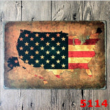 Vintage Tin Sign Wall Decor Retro Metal Bar Store Poster American Flag Map Art 20x30CM