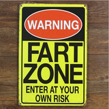 Warning Fart Zone Vintage Metal Tin Signs Poster Home Pub Bar Wall Decor 20x30CM