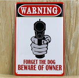 Warning Gun Poster Vintage Metal Tin Signs Home Pub Bar Wall Decor 20x30CM