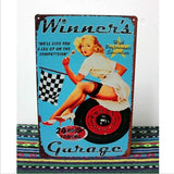 Winner's Garage Tin Sign Vintage Pinup Metal Poster Wall Decor Tow Truck Ad,20x30CM