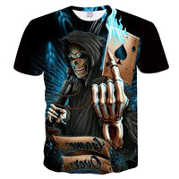 3d skull poker t-shirts Mens Casual 3D Printed T shirt