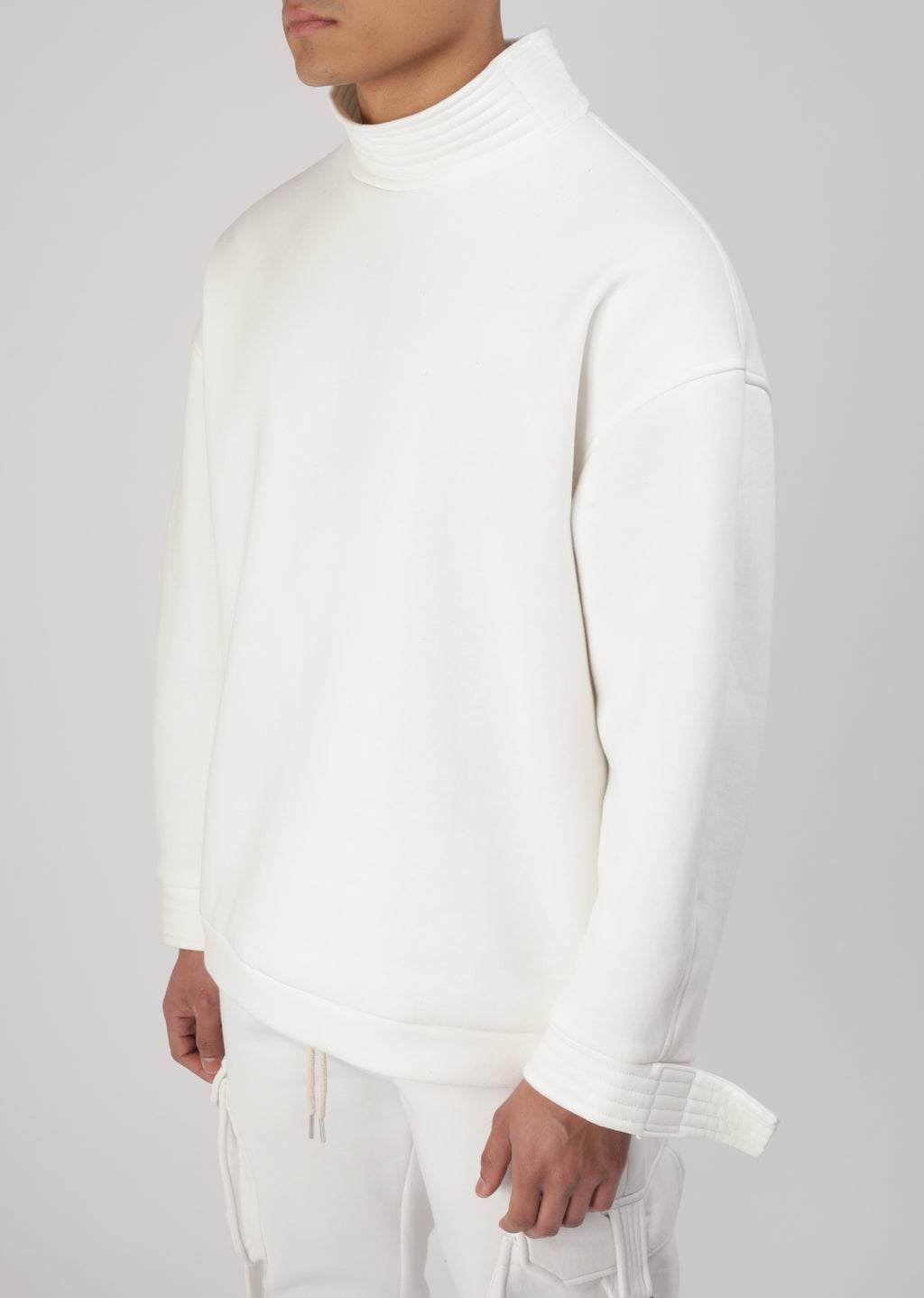 Sweat Col Montant Signature Blanc