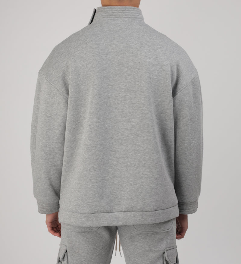 Sweat Col Montant Signature Gris