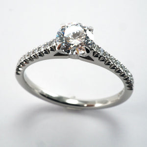 Solitaire With Hand Cut Set Diamond Shoulders - 1.32ct