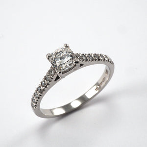 Cushion Solitaire with Diamond shoulders - 0.67ct